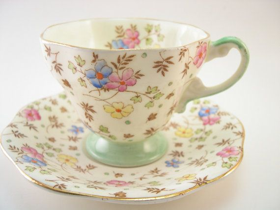 Antique 1930's Foley  Tea cup and saucer set by AntiqueAndCrafts, $50.00