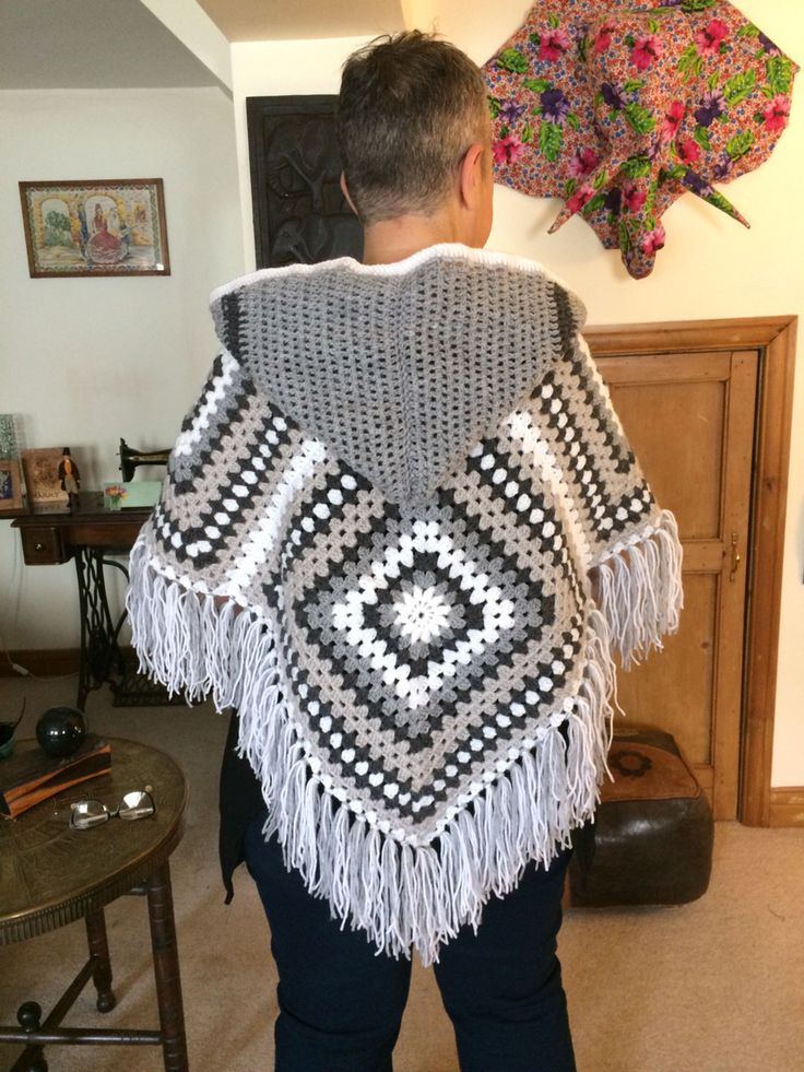 Giant granny square poncho with hood and fringe                                                                                                                                                                                 More