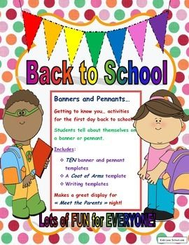 Back to School-Banners and Pennants Getting to Know You Activities in ENGLISH!Getting to know you activities for the first day back to school!Students tell about themselves on a banner or pennant.Includes:*TEN banner and pennant templates*A Coat of Arms template*Writing templatesThese activities make a great display for  Meet the Parents  night!Get to know your students and have FUN at the same time!This resource is suitable for ALL grades 1-8.