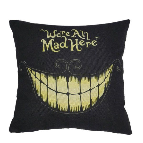 Home Decor Holloween Teeth Pattern Cushion Linen Pillow Case - BLACK