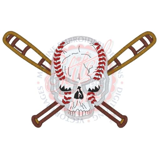 Softball (18) Softball Skull & Bats Applique 5x7