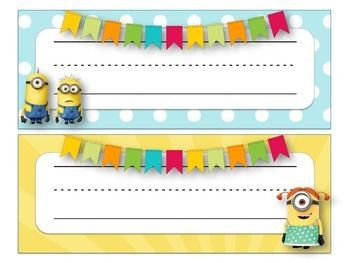 Perfect Desk Name Tags for your little Minions! Your students will LOVE these! You can even let them choose their own Minion tag on the first day of school! :)Included in the download is a PDF document with 8 different name tags.Enjoy! Check out my store for other Minion Themed products! ***This item is not a licensed product.