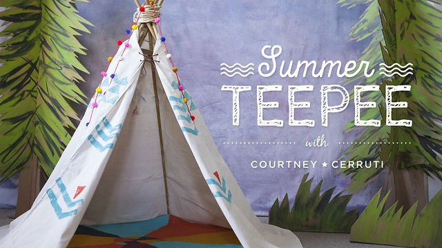 How to Build a Summer Teepee with Courtney Cerruti by Creativebug. This no-sew teepee can be set up on a porch, living room floor or in a meadow for all kinds of dreamy summer activities, from reading to playing games to hosting a starry slumber party. You determine how big it will be with the size dropcloth you use and the height of the bamboo poles -- and then truly make it your own with simple stamps and decorations.