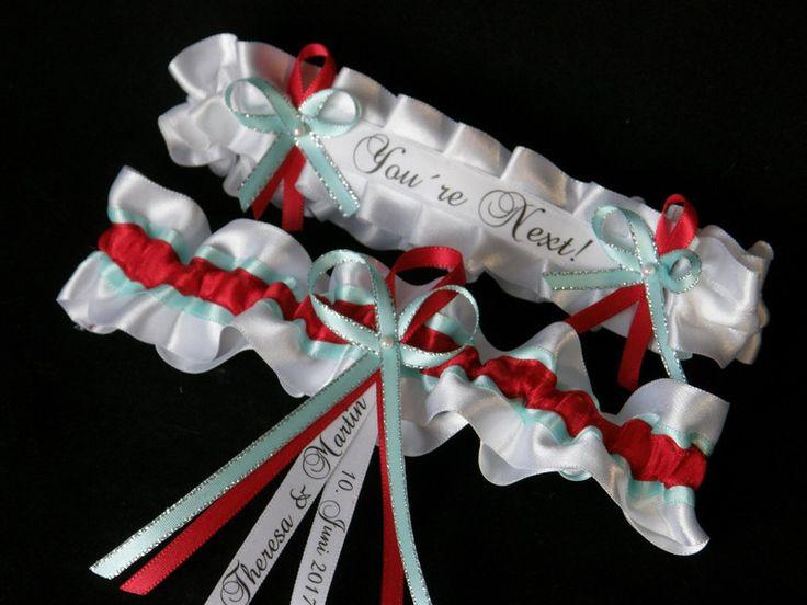 Strumpfbänder - Strumpfband-Set Namen Datum Aqua blau/rot/weiss - ein Designerstück von Candelita123 bei DaWanda