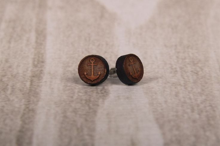 Wooden Laser Cut Small Round Anchor Earrings made in South Africa