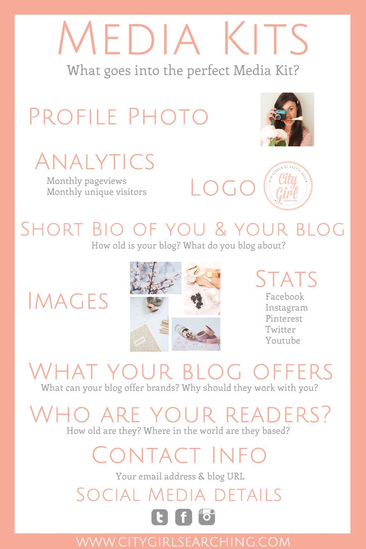 How to create the perfect media kit for your blog + free template by CityGirlSearching in collaboration with GlamorousGlitter. Pin this guide to help you keep track of what  elements make up the perfect Media Kit for your blog!