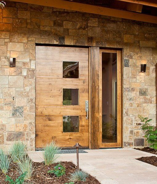 Modern Exterior Of Home With Pathway Transom Window: Contemporary Front Door With Modern Custom Exterior Door