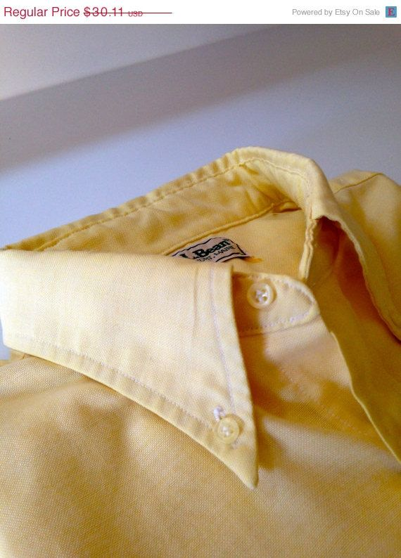 16.5 Large Vintage OCBD Half Sleeve Yellow LL Bean