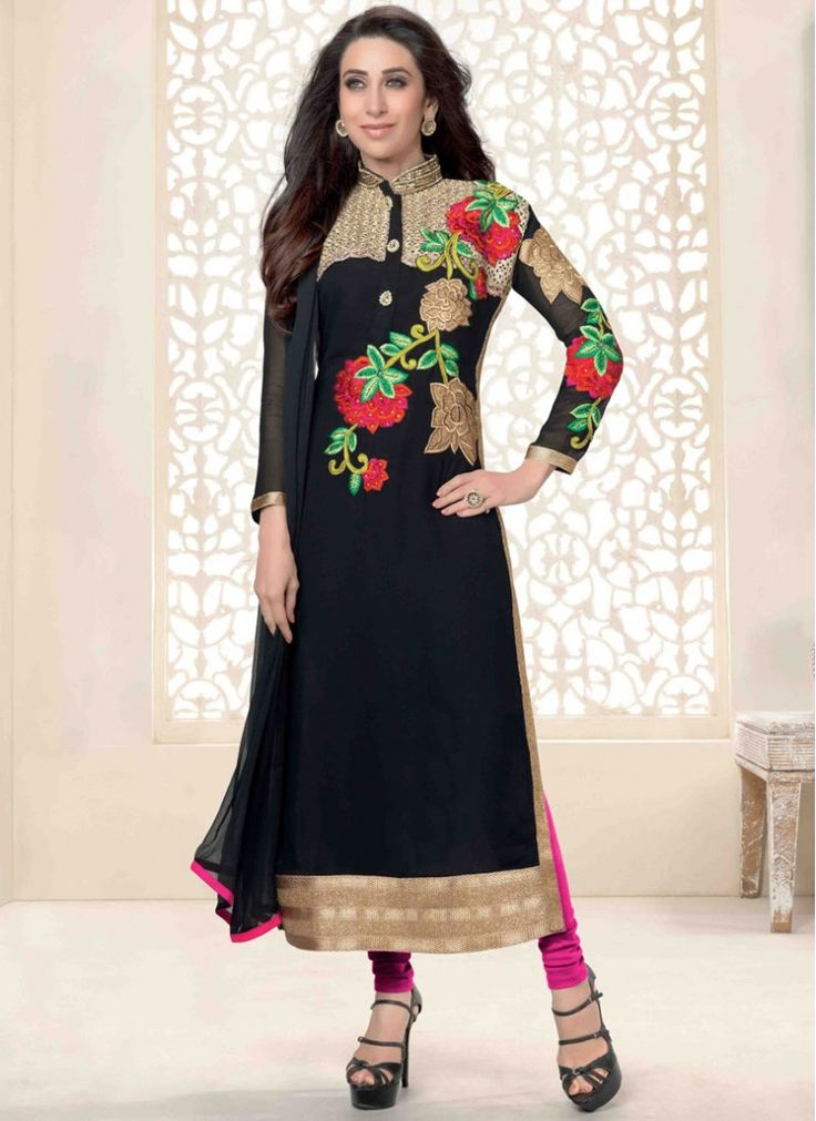 Colour: Black Collection : Karishma Kapoor, KSD106 Top Fabric : Georgette Bottom Fabric : Heavy Santoon Innar Fabric : Heavy Santoon Dupatta Fabric : Nazneen Top Length : 3.5 mtr Inner Length : 4.5 mtr Bottom Length : (4.5 mtr Dupatt Length : 2.25 mtr Work : Embroidered  Buy at Just Rs.1799/-