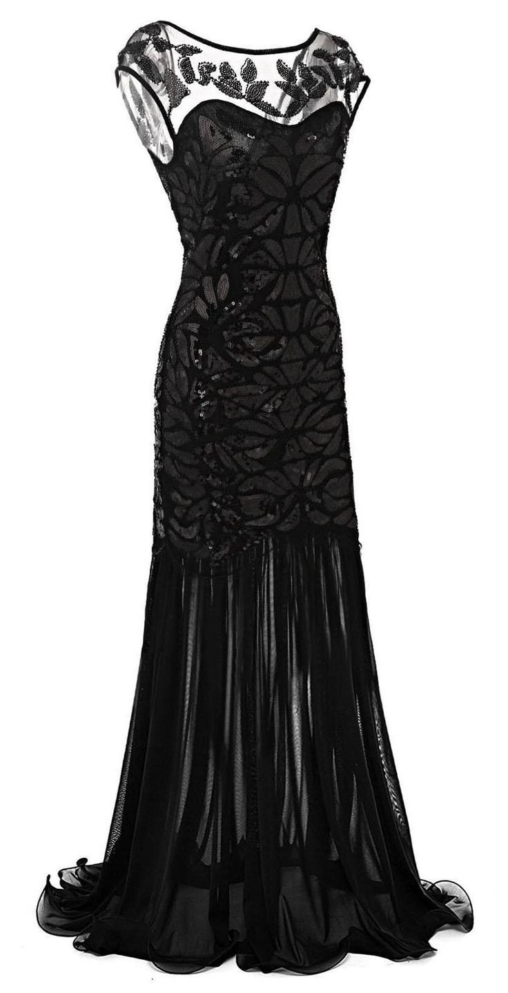 Black 1920s Vintage Sequin Embellished Maxi Flapper Party Dress