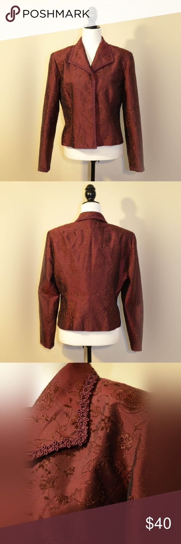 Kay Unger Burgundy Blazer Absolutely gorgeous Kay Unger blazer. Embroidered with a subtle floral pattern. Inside lining is 100% silk. Kay Unger Jackets & Coats Blazers
