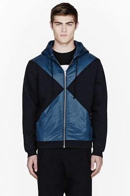 Opening Ceremony Navy Fleece And Nylon Patched Zip Hoodie