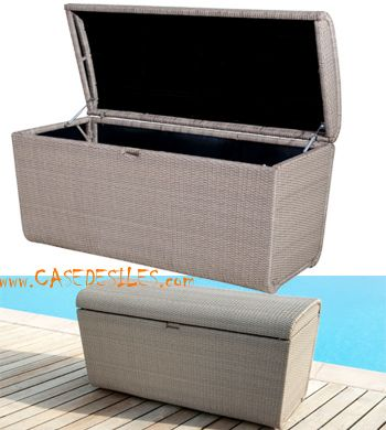 Coffre piscine tresse alu design en Vente Flash : Coffre piscine tressée résine sur alu démontable
