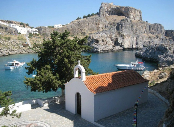 St. Pauls Bay, Lindos, Rhodes - went to a wedding at this church