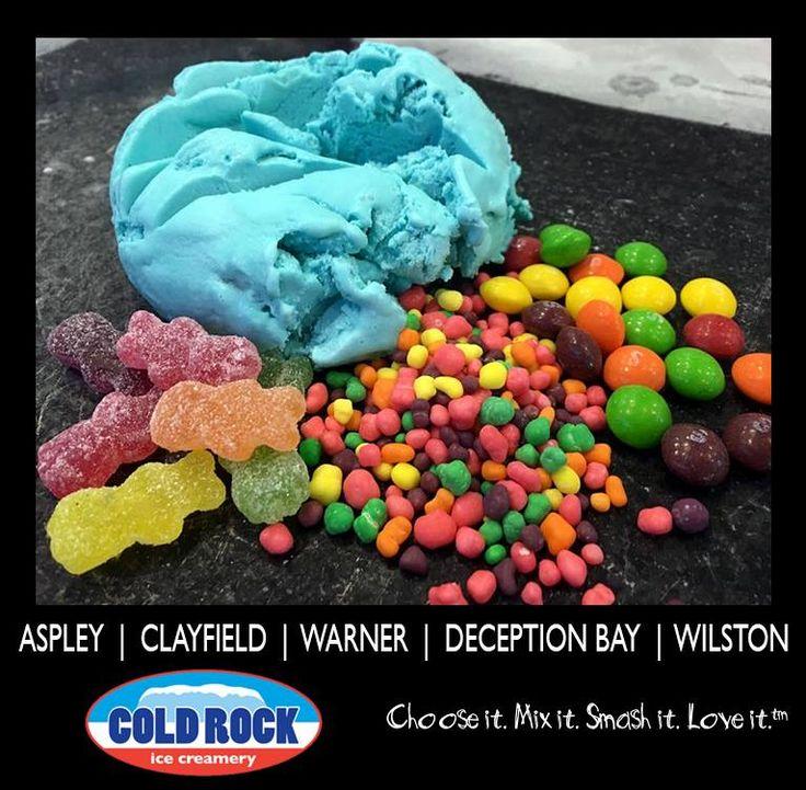 Cold Rock Bubblegum ice cream #coldrock #icecream #bubblegum mixed in with #sourpatchkids #nerds #skittles