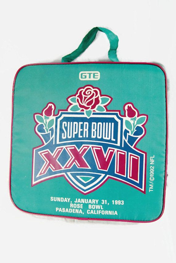 Vintage Super Bowl Seat Cushion 1992 NFL Rose Bowl Pasadena California GTE / The Talk Of The NFL Rare Football Sports Collectible Stadium by ANTIGOs on Etsy