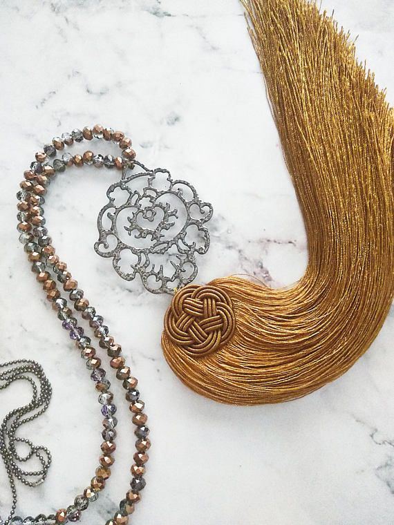 Boho tassel necklaceFiligree pendant necklaceHamsa