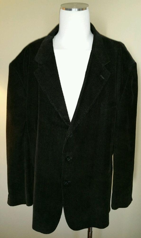 Alexander Llyod 58 R Courderoy Black Sport Coat Jacket Blazer Hand Tailored #AlexanderLloyd #ThreeButton
