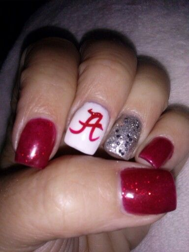 ROLL TIDE! My new Alabama nails...