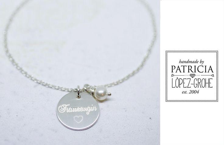 Gastgeschenke - 925 / - TRAUZEUGIN Armband Hochzeit Silberkette - ein Designerstück von Grohe-Schmuck bei DaWanda