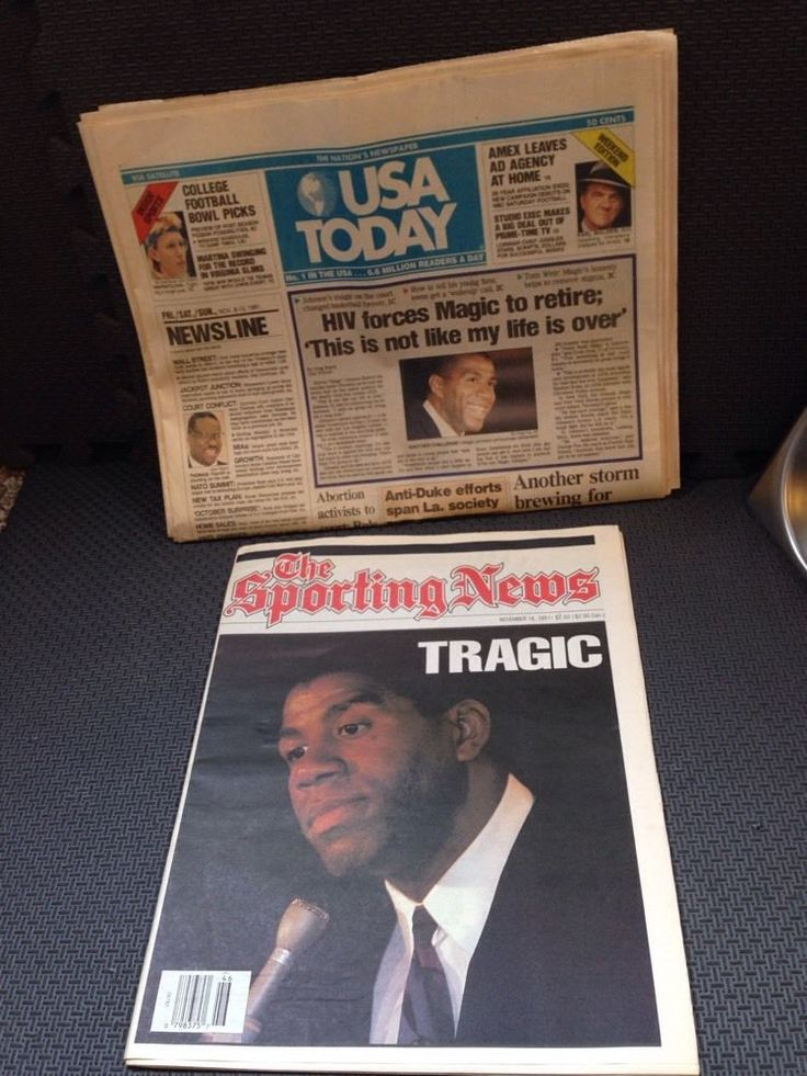 """""""The Announcement"""" 1991 Sporting News and USA Today Newspapers Magic Johnson/HIV"""