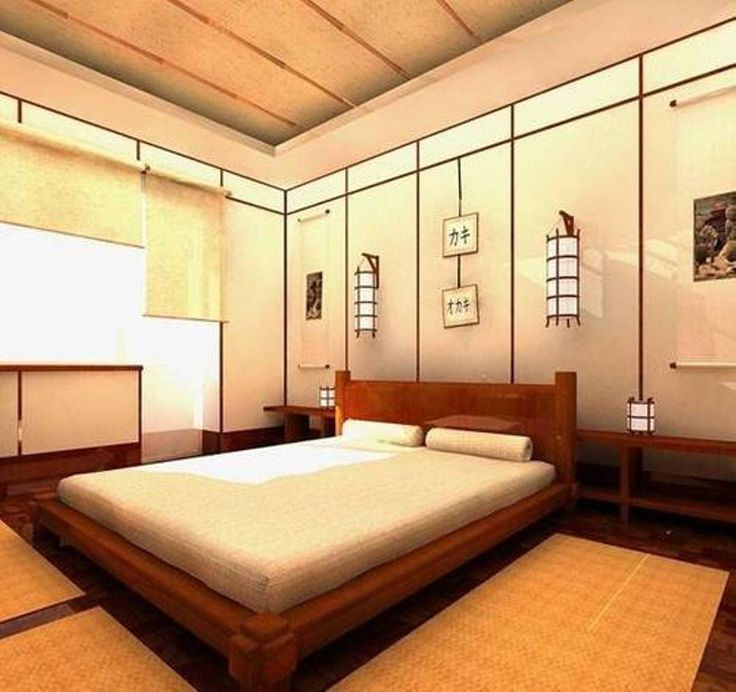 Bedroom , Japanese Bedroom Decor Ideas : Japanese Bedroom Decor With  Lanterns And Futon Mattress