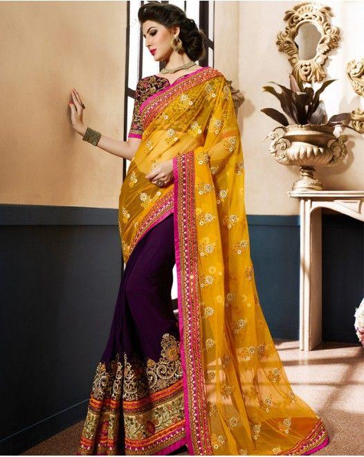 Outstanding Orange And Purple Georgette Designer Saree #designersareeswedding #latestdesignersarees #indiandesignersarees #designersareescouture #designersareesforgirls #designersarees2017 #floraldesignersarees #plaindesignersarees #whitedesignersarees #designersareespartywear #bollywooddesignersarees #simpledesignersarees #vogueindia #lakmefashionweek #bollywood #fashion #shopping #usa #india #indianwear