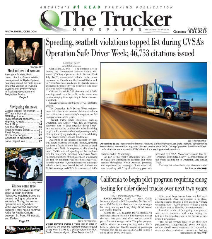 The Trucker Newspaper October 15 2019 Trucker Trucks Newspaper