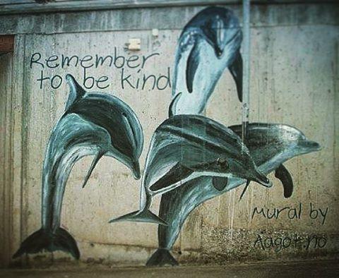 Remember to be kind  Husk å være snill  (Mural by Aagot.no) #aagotno #art #mural #voss #vossakunst