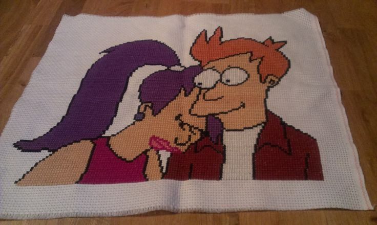 Embroided Leela and Fry. MN