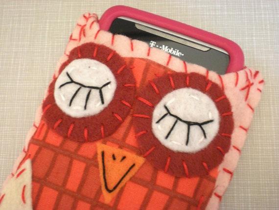 Sweetheart Scarlet Eco Felt Owl Owl Phone Cozy by HappyFelties