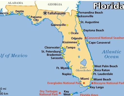 Map of Florida Orlando Miami Tampa Key West Sarasota  Travel