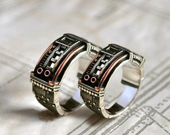 "Silver Steampunk Wedding Rings ""Sustentorum"""