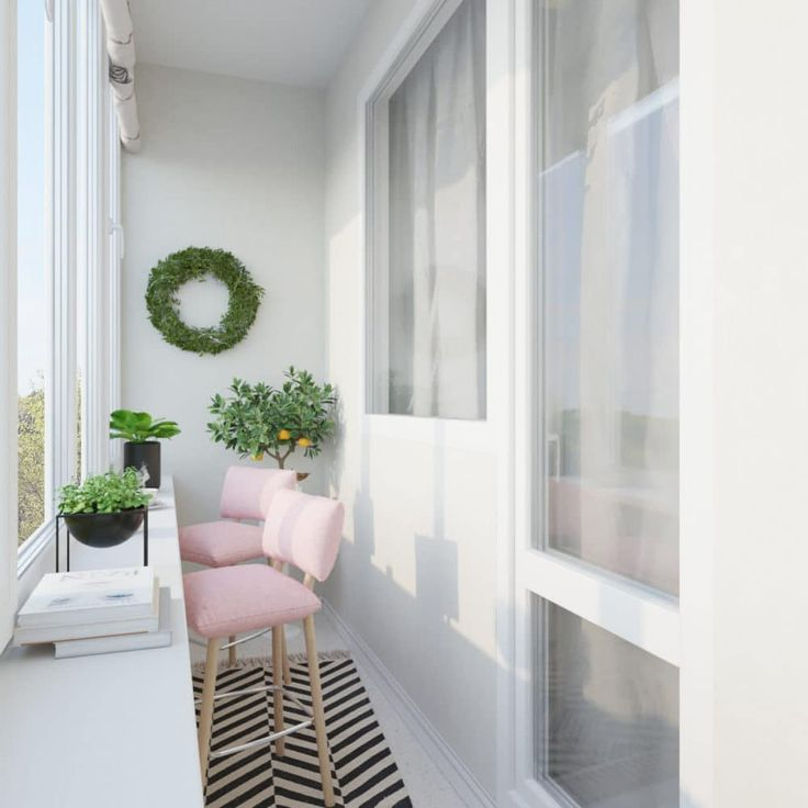 Балкон в цветах: Белый, Светло-серый, Серый. Балкон в стиле: Скандинавский.