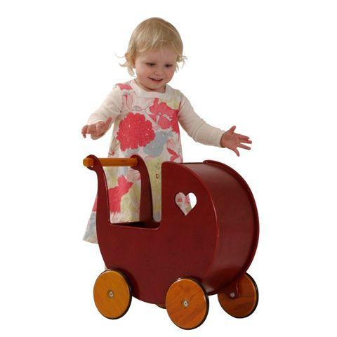 Giocattoli 9+ mesi - Carrozzina bambola in legno Rosso by Moover