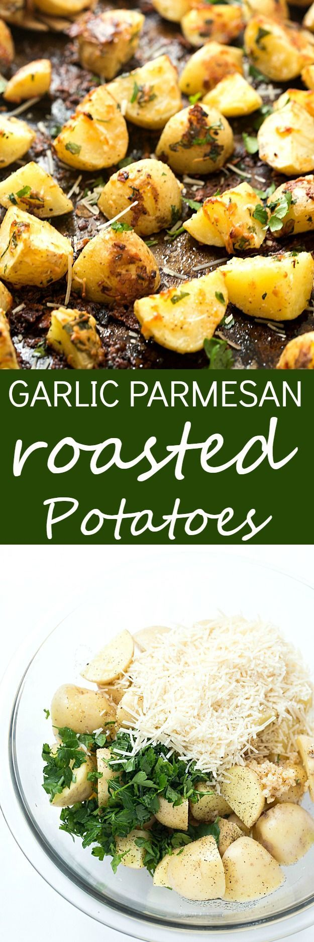 Garlic Parmesan Pan Roasted Potatoes - If you love crispy baked potatoes, you need to try these pan roasted potatoes! Crispy on the outside and moist and tender on the inside! The perfect side-dish to any meal you are making for dinner tonight!