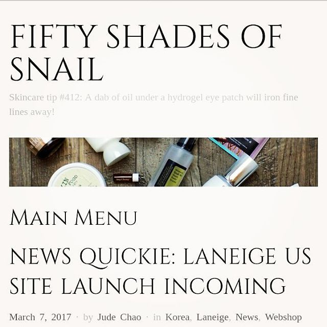 Micro #blogpost tonight with some US #kbeauty news. Check it out if you're a #Laneige fan. . Edit: Front page issue fixed; it's there now! . Preemptive disclosure: I have agreed to think about accepting PR samples from Laneige US. . #fiftyshadesofsnail #rasianbeauty #abcommunity #beautycommunity #beautynews #kbeauty #koreanbeauty #koreanskincare #skincare #beauty