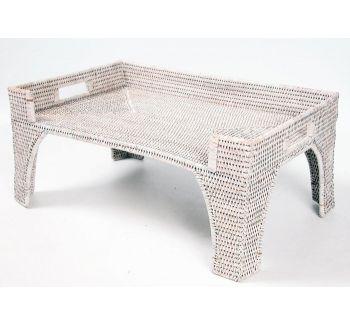 Поднос - столик кроватный белый в интернет магазине декора StoreDecor. Вы можете купить подносы из ротанга на любой вкус с доставкой по Украине.