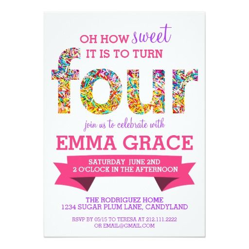388 best 4th birthday party invitations images on pinterest candy theme 4th birthday party sprinkles invite bookmarktalkfo