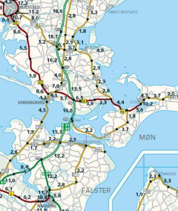 Bidrag til historien om infrastrukturens udvikling på og omkring Bogø. Her Vejdirektoratet. Trafikrapport 1999. Trafik på rutenummererede veje. Rapport nr. 224. 2001 5. Trafikken på det rutenummererede vejnet i 1999. Årsdøgntrafik i 1.000 køretøjer pr. døgn. Kortet viser 2.200 køretøjer i døgnet i 1999 på sekundærvejen over Bogø. Nu gælder det om at finde tallene fra før Farøbroernes åbning.