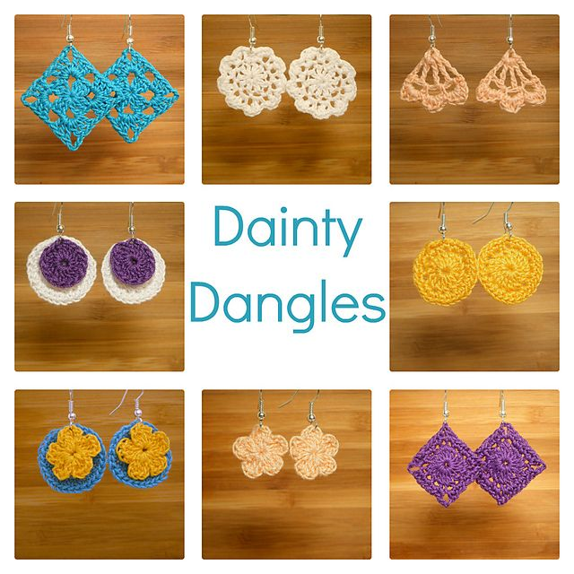 Dainty Dangles Crocheted Earrings pattern by Abigail Gonzalez