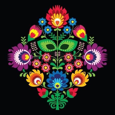 Bordado popular con flores - patr�n tradicional polaca en el fondo negro photo …