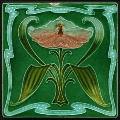TH2336-Superb-Rare-Antique-Art-Nouveau-Majolica-Embossed-Tile-Rhodes-Rd-1907