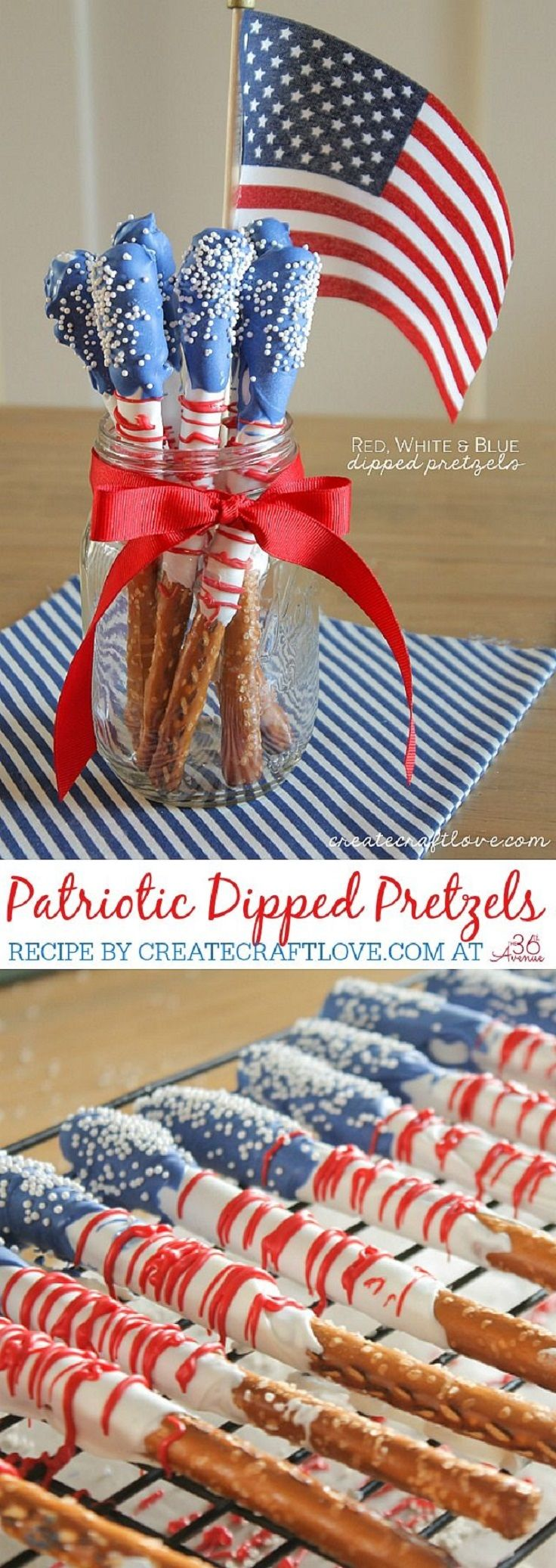 Fourth of July Dessert – Dipped Pretzels - 17 Show-Stopping 4th of July Party Decorations | GleamItUp