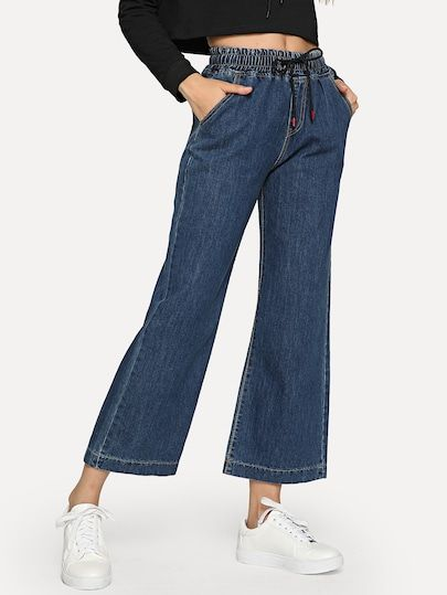 3151327c8b High Waist Flare Hem Jeans | SheIn.com Online Shopping#mensfashion ...