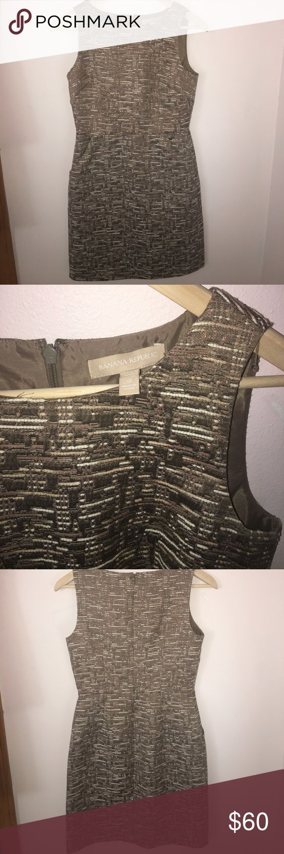 Banana Republic holiday dress! Beautiful tan and off white patterned dress with pockets, size 0 petite! Worn once for a Christmas party. Perfect dress for a night out! Banana Republic Dresses Mini