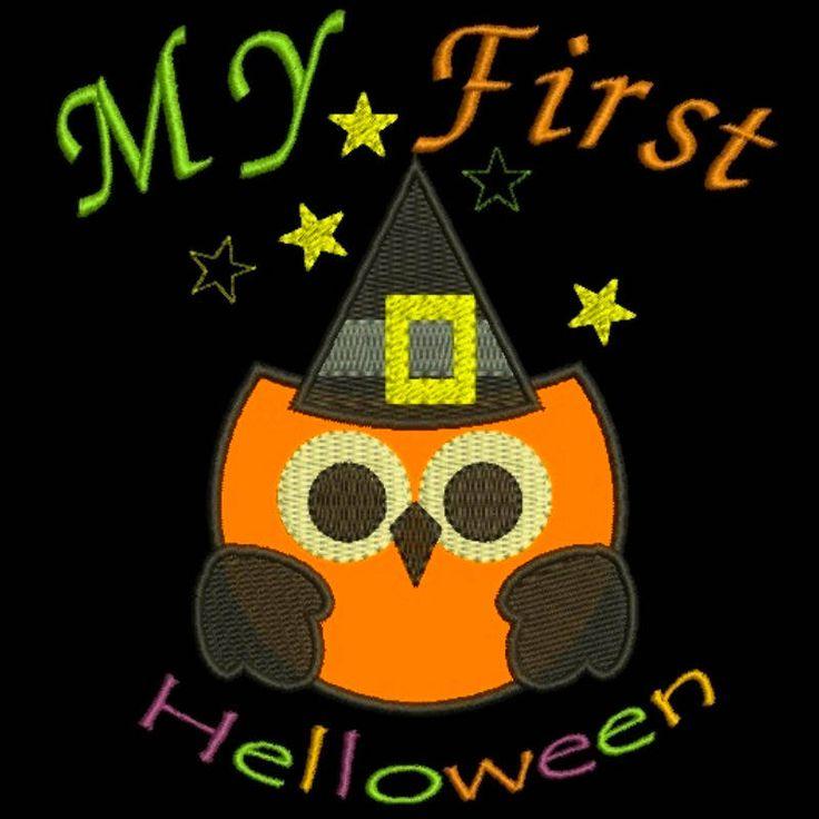My First Halloween owl Embroidery designs Applique Pumpkin pattern design instant digital download baby kindergarten cute hoop file by SvgEmbroideryDesign on Etsy