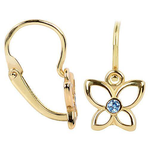 Brilio Cercei din aur pentru copii Fluture albastru 236 001 00986 - 0,85 g