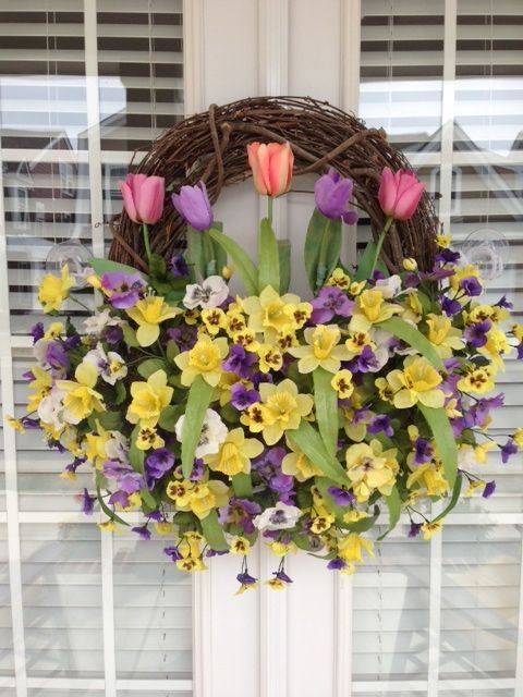"Creative Design's By ""Flower~Girl""...A Tulip & Pansy Easter~Spring Wreath..."