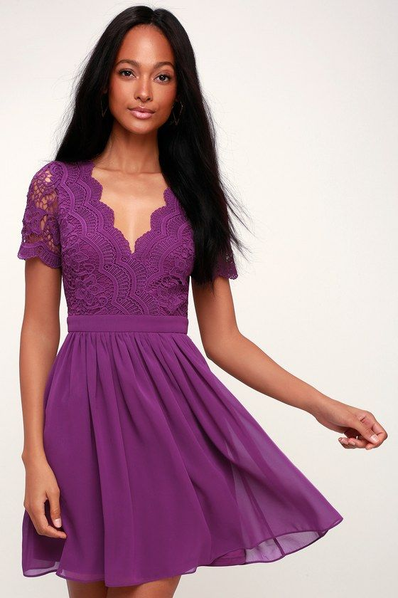 e1a42c9391d Look like you arrived from cloud nine in the Lulus Angel in Disguise Purple Lace  Skater Dress! Skater dress with a V-neck